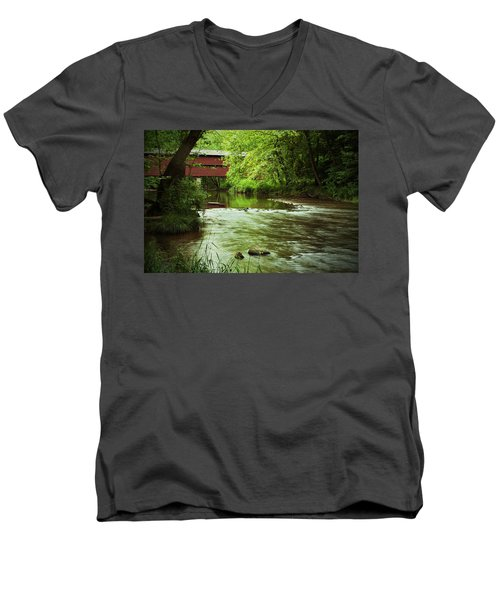 Covered Bridge Over French Creek Men's V-Neck T-Shirt by Michael Porchik
