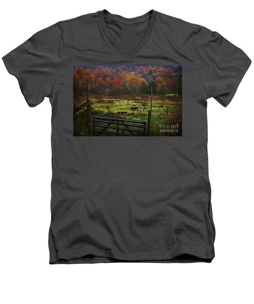 Men's V-Neck T-Shirt featuring the photograph Cow Pasture In Autumn by Debra Fedchin