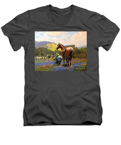Cowboy And His Cows Men's V-Neck T-Shirt