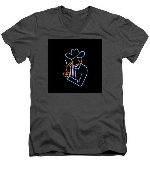 Cowboy In Neon Men's V-Neck T-Shirt