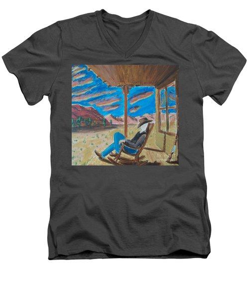 Cowboy Sitting In Chair At Sundown Men's V-Neck T-Shirt