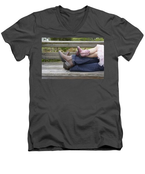 Men's V-Neck T-Shirt featuring the photograph Cowgirls by Laurie Perry