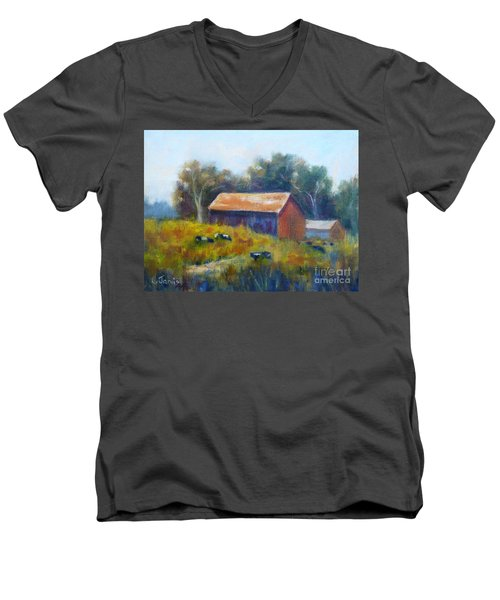 Cows By The Barn Men's V-Neck T-Shirt