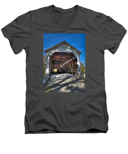Cox Ford Covered Bridge Men's V-Neck T-Shirt by Alan Toepfer