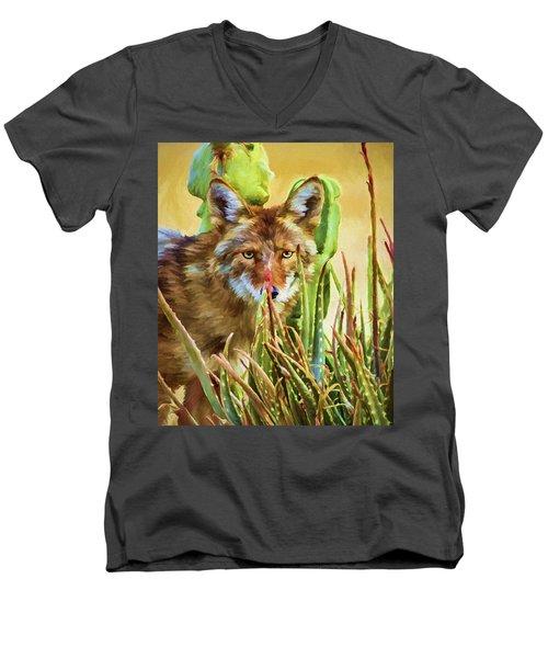 Coyote In The Aloe Men's V-Neck T-Shirt