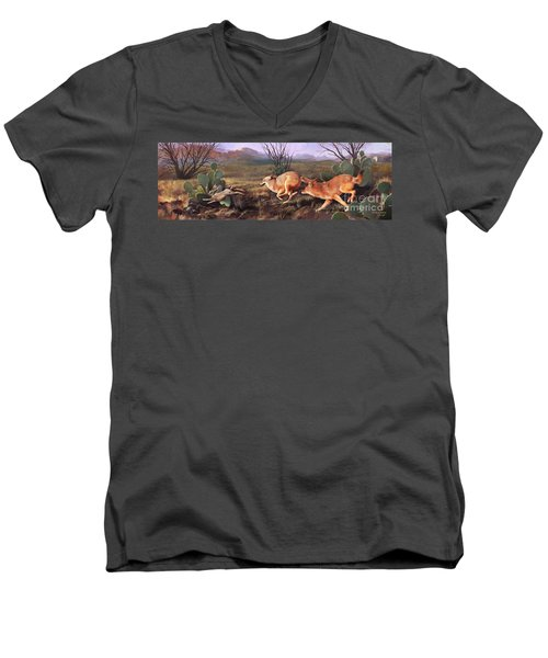 Men's V-Neck T-Shirt featuring the painting Coyote Run by Rob Corsetti