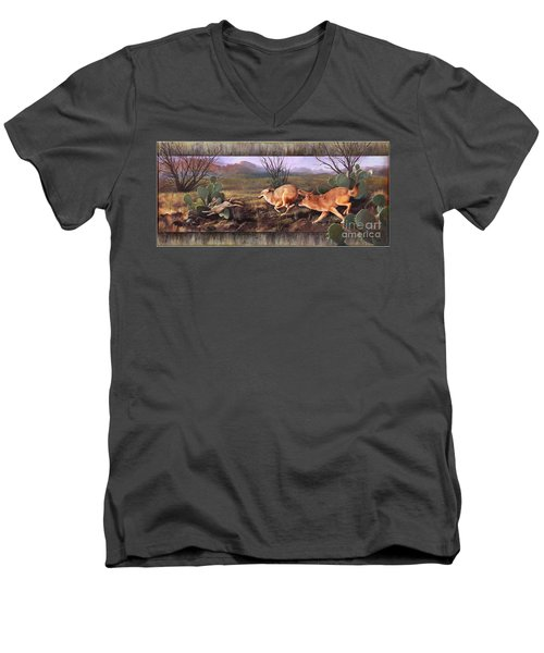 Men's V-Neck T-Shirt featuring the painting Coyote Run With Boarder by Rob Corsetti