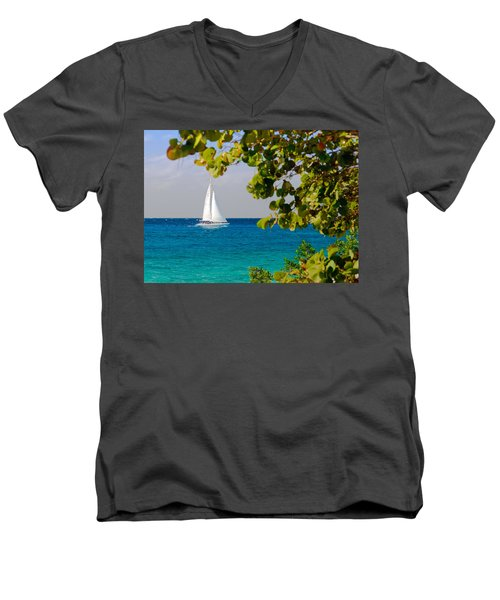 Men's V-Neck T-Shirt featuring the photograph Cozumel Sailboat by Mitchell R Grosky