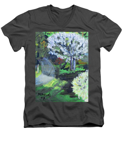 Men's V-Neck T-Shirt featuring the painting Crab Apple Tree by Michael Daniels