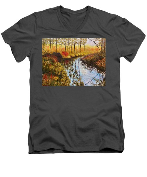 Men's V-Neck T-Shirt featuring the painting Cranberry Bog by Jason Williamson