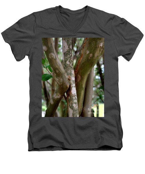 Men's V-Neck T-Shirt featuring the photograph Crape Myrtle Branches by Peter Piatt
