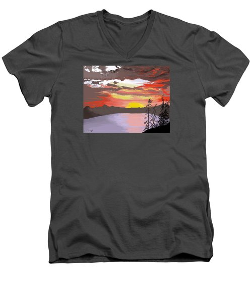 Crater Lake Men's V-Neck T-Shirt by Terry Frederick