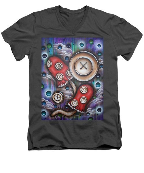 Crazy Button Mushrooms Men's V-Neck T-Shirt