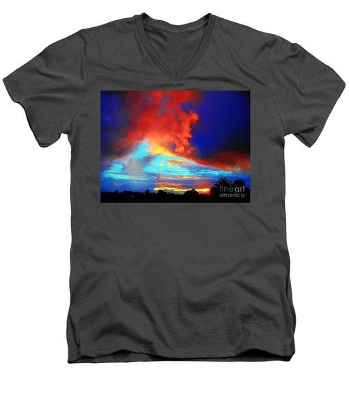 Men's V-Neck T-Shirt featuring the photograph Strange Sunset by Mark Blauhoefer