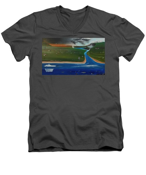 Men's V-Neck T-Shirt featuring the painting Creation And Evolution - Painting 1 Of 2 by Tim Mullaney