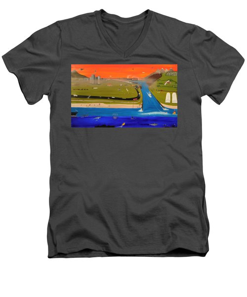 Men's V-Neck T-Shirt featuring the painting Creation And Evolution - Painting 2 Of 2 by Tim Mullaney
