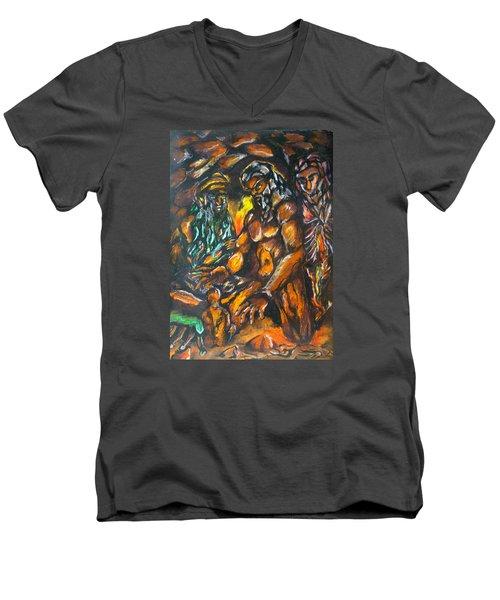 Men's V-Neck T-Shirt featuring the pastel Creation Creacion by Lazaro Hurtado