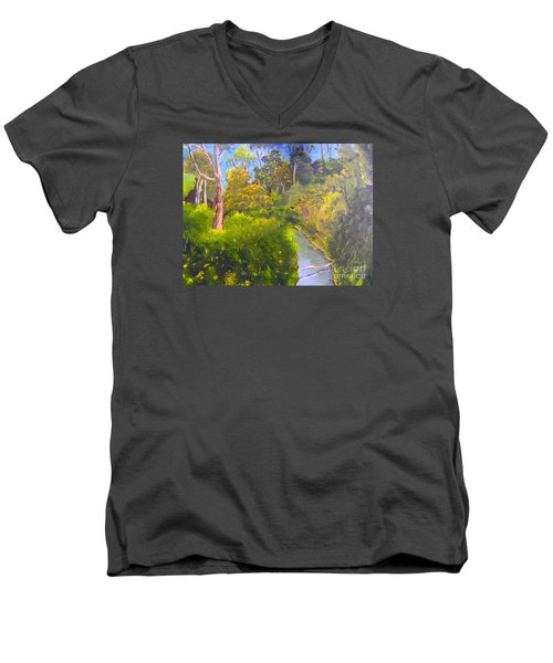 Creek In The Bush Men's V-Neck T-Shirt by Pamela  Meredith