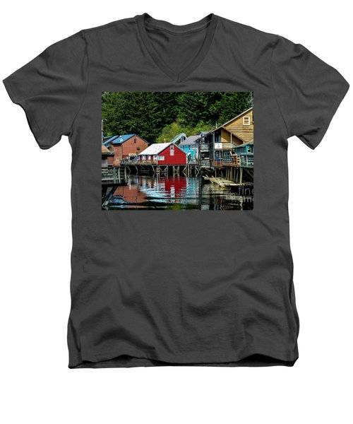 Creek Street - Ketchikan Alaska Men's V-Neck T-Shirt by Debra Martz