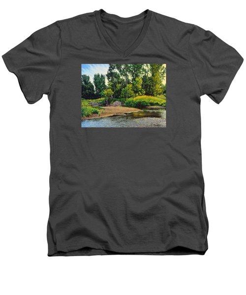 Creek's Bend Men's V-Neck T-Shirt by Bruce Morrison