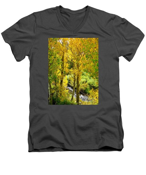 Men's V-Neck T-Shirt featuring the photograph Creekside by Marilyn Diaz