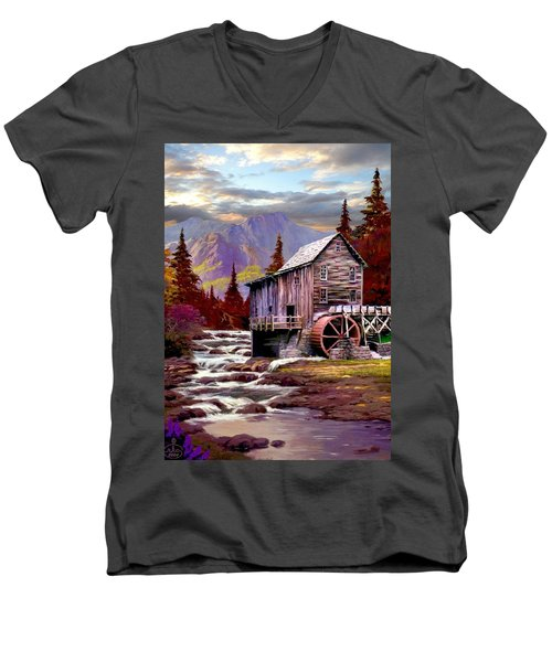 Creekside Mill Men's V-Neck T-Shirt by Ron Chambers