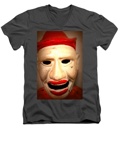 Men's V-Neck T-Shirt featuring the photograph Creepy Clown by Lynn Sprowl