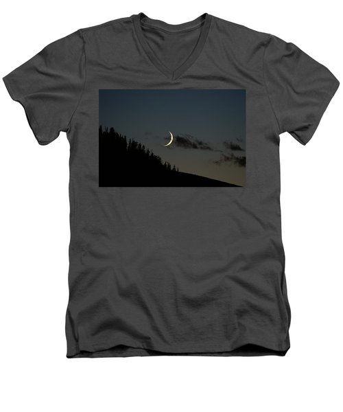 Men's V-Neck T-Shirt featuring the photograph Crescent Silhouette by Jeremy Rhoades