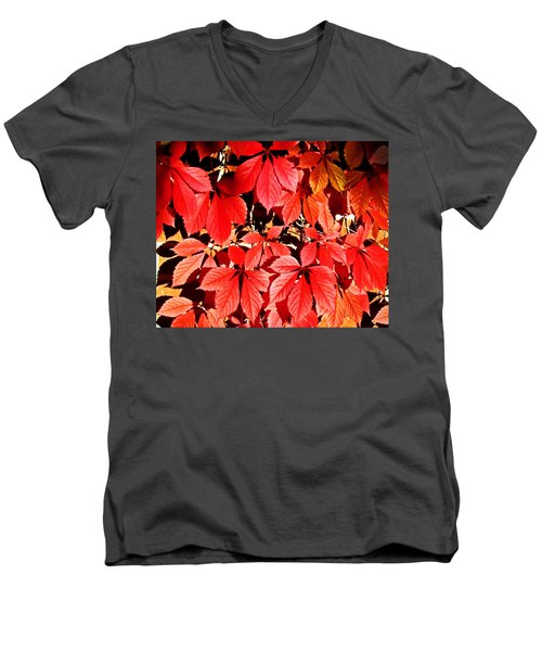 Crimson Virginia Creeper 2 Men's V-Neck T-Shirt