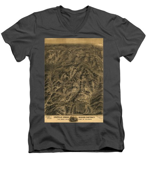 Antique Map - Cripple Creek Mining District Birdseye Map - 1895 Men's V-Neck T-Shirt