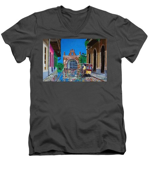 Capilla De Cristo - Old San Juan Men's V-Neck T-Shirt by The Art of Alice Terrill