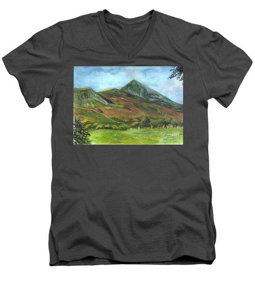 Croagh Saint Patricks Mountain In Ireland  Men's V-Neck T-Shirt by Carol Wisniewski
