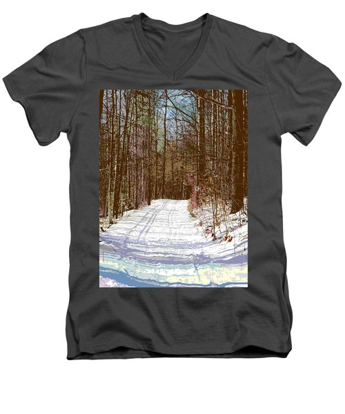 Men's V-Neck T-Shirt featuring the photograph Cross Country Trail by Nina Silver