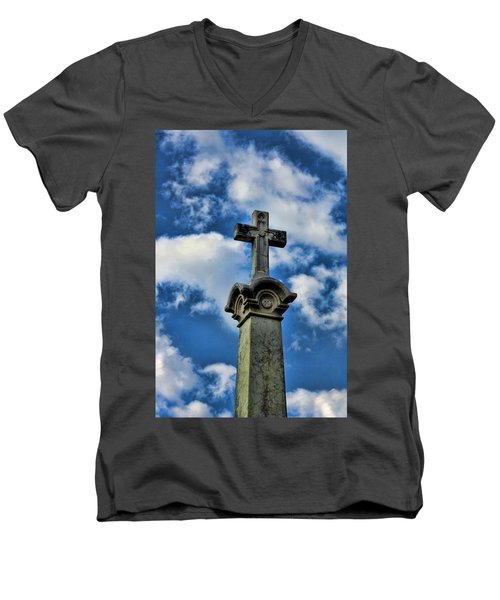 Men's V-Neck T-Shirt featuring the photograph Cross Face 3 by Lesa Fine