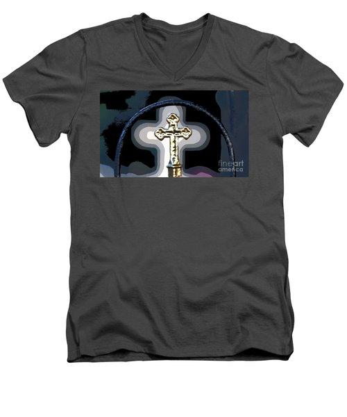 Men's V-Neck T-Shirt featuring the photograph Cross On Lacombe Louisiana Cemetery by Luana K Perez