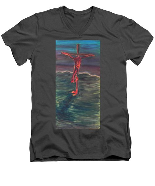 Cross Impression 1 Men's V-Neck T-Shirt by Mark Minier