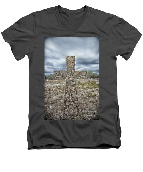 Cross With No Name Men's V-Neck T-Shirt by Erika Weber