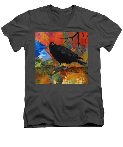 Crow On A Branch Men's V-Neck T-Shirt