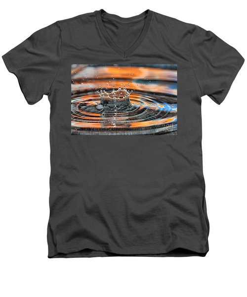 Men's V-Neck T-Shirt featuring the photograph Crown Shaped Water Drop Macro by Teresa Zieba