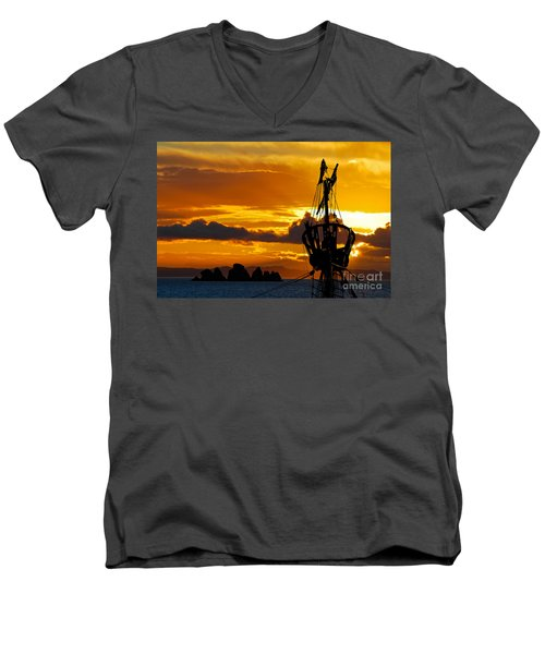 Crows Nest Silhouette On Newfoundland Coast Men's V-Neck T-Shirt