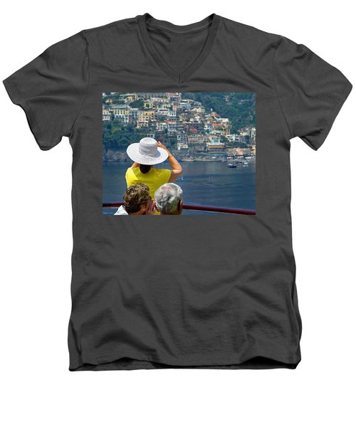 Cruising The Amalfi Coast Men's V-Neck T-Shirt by Keith Armstrong