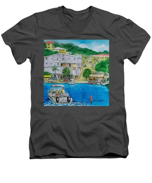 Cruz Bay St. Johns Virgin Islands Men's V-Neck T-Shirt by Frank Hunter