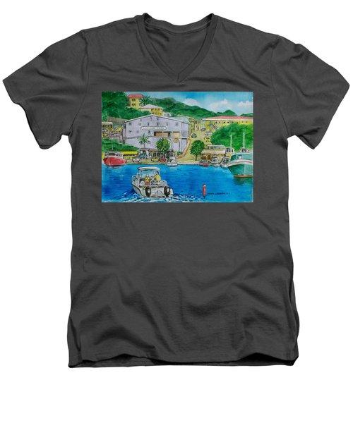 Cruz Bay St. Johns Virgin Islands Men's V-Neck T-Shirt