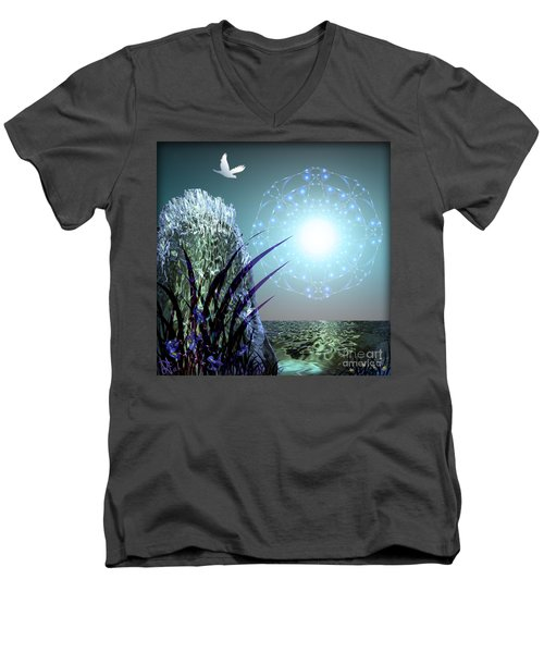 Men's V-Neck T-Shirt featuring the digital art Crystal Breathing Rock by Rosa Cobos