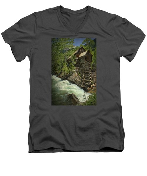 Men's V-Neck T-Shirt featuring the photograph Crystal Mill by Priscilla Burgers
