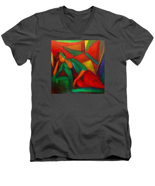 Cubism Contemplation  Men's V-Neck T-Shirt