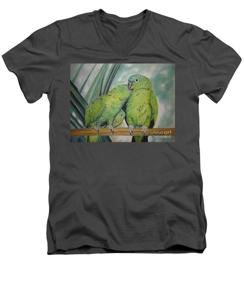 Cuddles Men's V-Neck T-Shirt by Laurianna Taylor