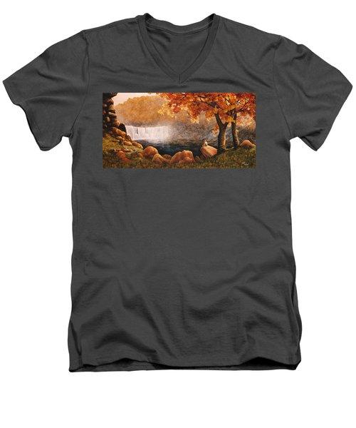 Cumberland Falls Men's V-Neck T-Shirt by Duane R Probus