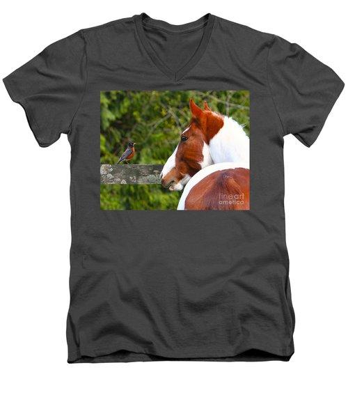 Curiosity Men's V-Neck T-Shirt by Michelle Twohig