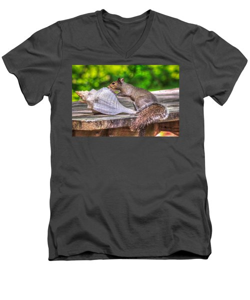 Men's V-Neck T-Shirt featuring the photograph Curious Squirrel by Rob Sellers